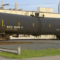 Train car that carries Bakken crude oil.
