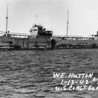 Black and white historical photo of ship.