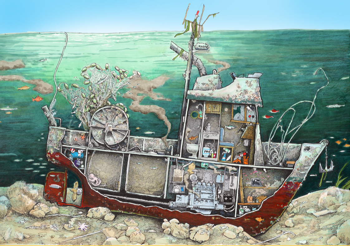 An illustration of a sunken vessel with a cutaway showing various materials inside the vessel.