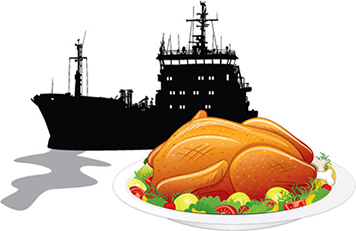 Thanksgiving turkey with a spill from a ship.