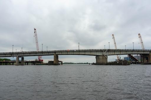 A bridge over water.