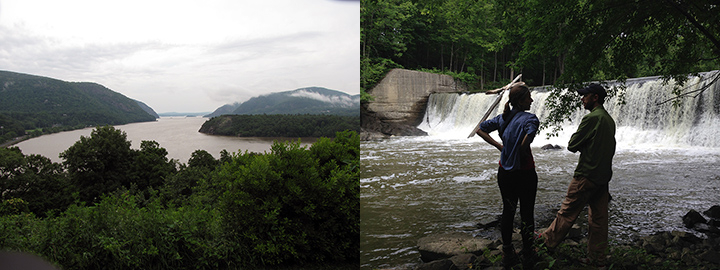 Left: View of Hudson River with forested banks. Right: Two people stand in front of a dam on a creek.
