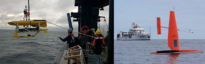 Left: Three people on a ship guide a wave glider as it's lowered into the ocean. Right: A bright orange Saildrone floats in front of a NOAA ship in the Bering Sea.