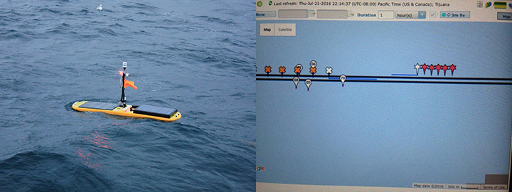 Left: A wave glider floating in the ocean. Right: Screen view of software tracking and driving two wave gliders in the Bering Sea.
